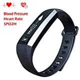 Homestec Blood Pressure S2 Smart Watch Fitness Tracker with SPO2H Heart rate monitor Sleeping Management Pedometer with OLED Touch Screen for Android iOS Smart Phone (Black)