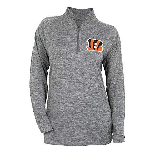(Zubaz NFL Cincinnati Bengals Women's 1/4 Zip Sweatshirt, Gray, Large)