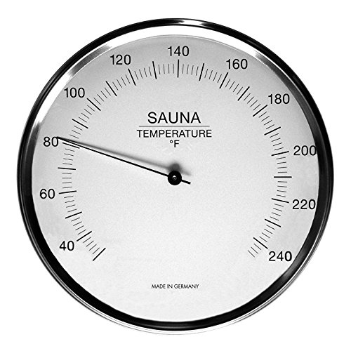 "Fischer Sauna Thermometer 6.3"", 198-01F (USA-Version, °F) - Made in Germany"
