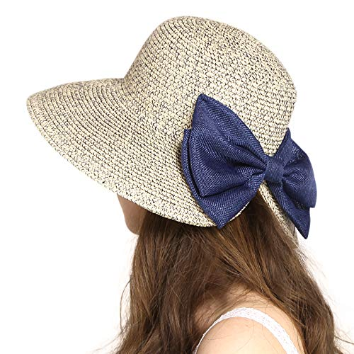 (Wasolola Straw Hat for Women with Bow Beach Hat Floppy Wide Brim UV Protection Packable Foldable Sun Hat Summer Blue)