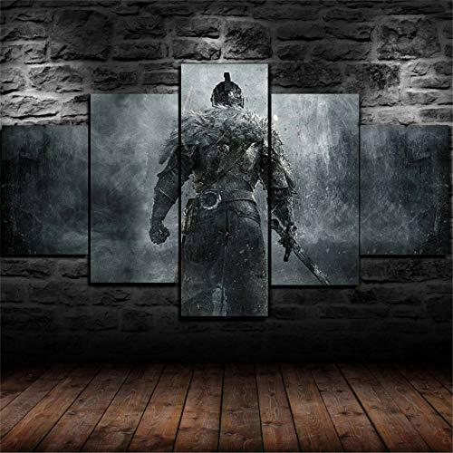 Framed Medieval Knight Warrior Armor 5 Piece Canvas Print Wall Art Home Decor