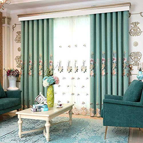 pureaqu Semi Blackout Curtains 84 inches Long for Bedroom Room Darkening Metal Rings Top Floral Patterned Embroidered Curtain Panels for Living Room/Sliding Glass Door 1 Panel W75 x H84 Inch