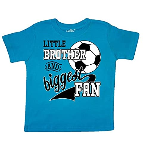Inktastic - Little Brother and Biggest Fan- soccer Toddler T-Shirt 2T Turquoise - Play Soccer T-shirt