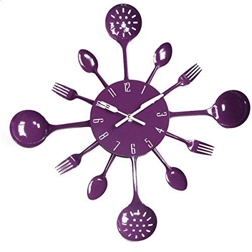 UNIQUEBELLA Metal Kitchen Cutlery Utensil Wall Clock Spoon Fork Home Decor Wanduhr horloge murale Deep Purple