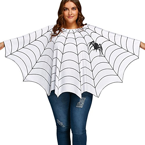 CHARMMA Women's Plus Size Long Sleeve Spider Web Printed Poncho Top Blouse (One Size, White)