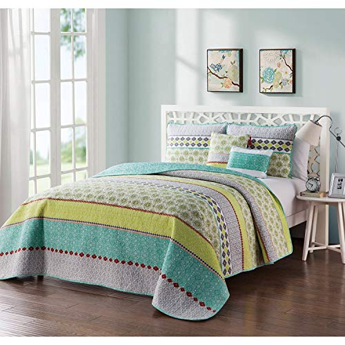 VCNY Home Dharma Reversible Quilt Set 5 Piece Queen, Full -