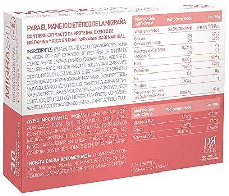 Migrasin sin cafeína 30 comprimidos - Alimento para el tratamiento dietético de la Migraña causada por el Déficit de DAO