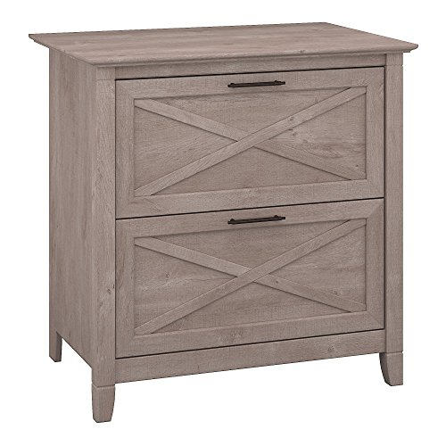 (Bush Furniture Key West 2 Drawer Lateral File Cabinet in Washed Gray)