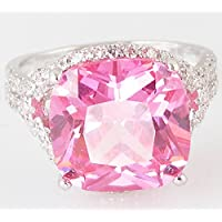 Lady/Womens Silver 14KT White Gold Pink Sapphire Wedding Ring Gift size 6-10 by khime (8)
