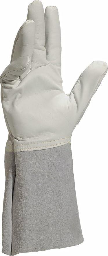 Delta plus guantes de piel - Guante soldado/r flor cabra/serraje manguito gris