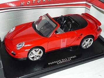 Porsche 911 997 Turbo Cabrio rojo 2004-2012 1/18 coche modelo Motormax