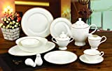 "Cheap Royalty Porcelain ""Hamptons"" 57-Piece White and Gold Banquet Dinnerware Set, 24K Gold-plated, Bone China Porcelain, Service for 8"