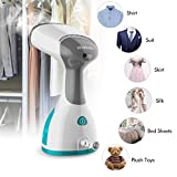 Clothes Steamer Portable 2 in 1 Handheld Garment Steamer Iron Fast Heat-up Fabric Steamer High Capacity for Home and Travel with Travel Pouch by HOMEASY
