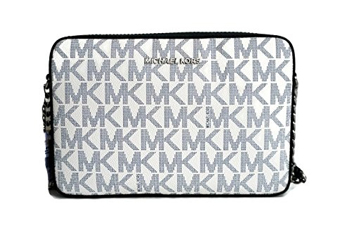 MICHAEL Michael Kors Jet Set Large East West Crossbody MK Signature Bag - Navy/White