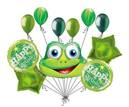 11pc Funny Green Frog Happy Birthday Balloon Bouquet Decoration Amphibian -