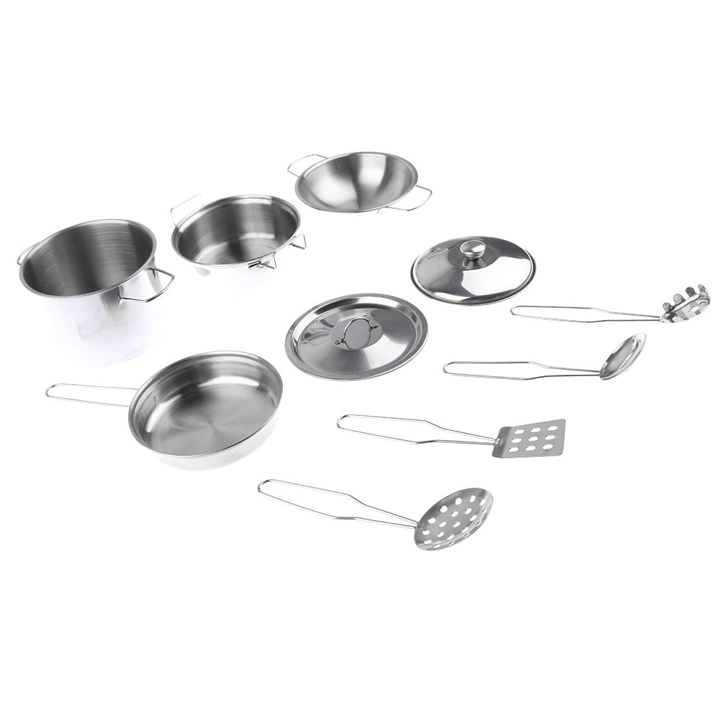 MagiDeal Kids Kitchen Metal Cookware Playset, All Purpose Kitchen Cooking Tool Set - D, 10pcs/Set