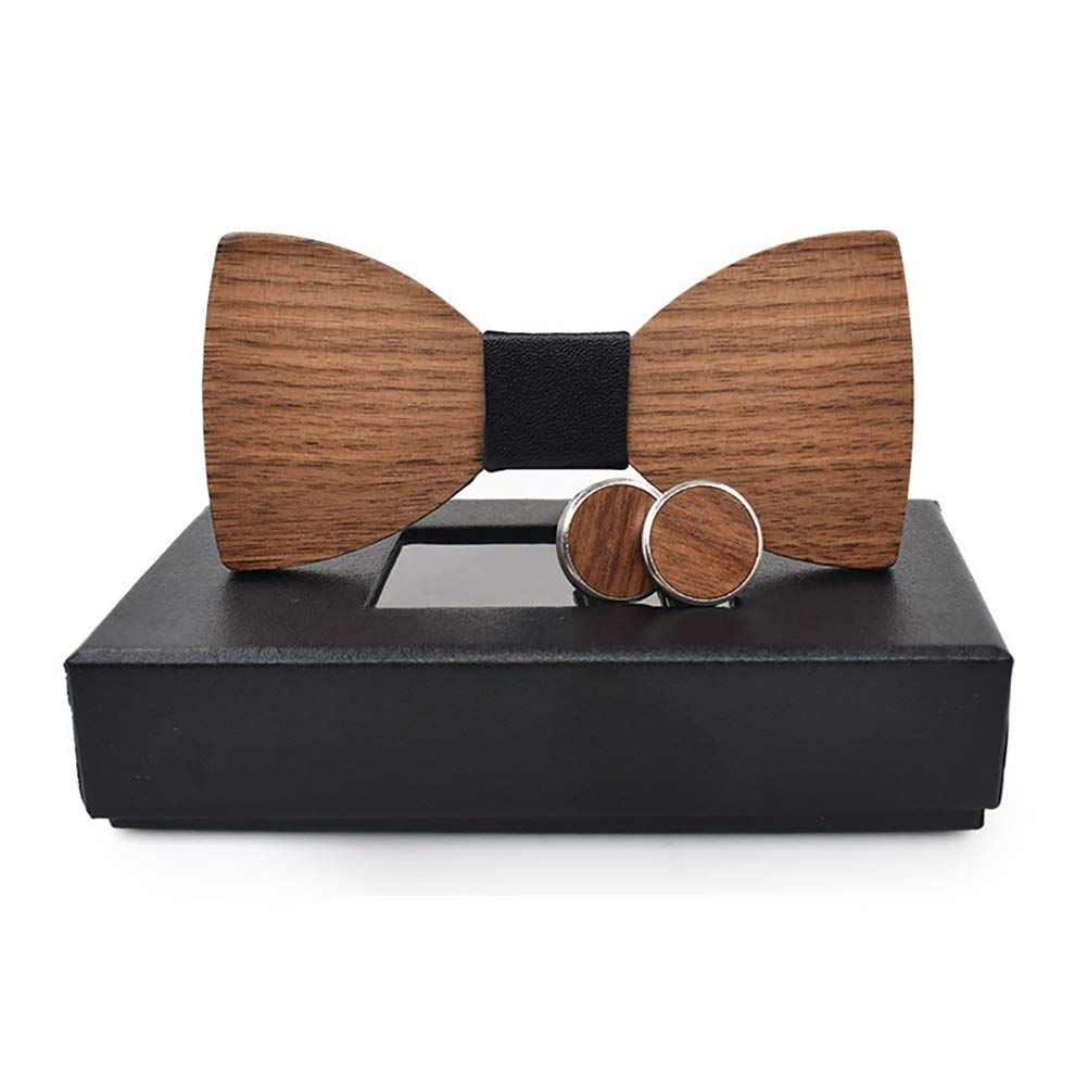 Mens Handmade Business Wooden Bow Tie Cufflinks Box