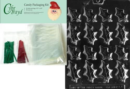 25 Red and 25 Green Twist Ties Includes 50 Cello Bags Cybrtrayd MdK50C-C178 Holly Leaves 2-Size Christmas Chocolate Mold with Chocolate Packaging Kit