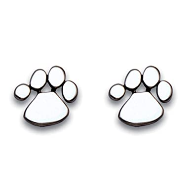 Amazoncom Sterling Silver Paw Print Stud Earrings Brittany