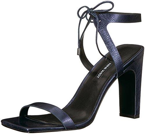 Nine West Women's LONGITANO Metallic Heeled Sandal, Navy, 7.5 Medium US