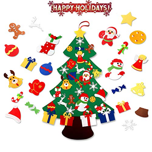 ASSIS 2019-New 3FT 3D-DIY Felt Christmas Tree Set with Handmade 32pcs Ornaments -Double Stitched Wall Hanging ()