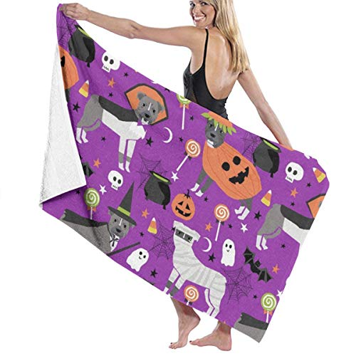 Pitbull Halloween Costume Dog Vampire Ghost Mummy Purple Beach Towels for Women Large Microfibre Beach Blanket Towel for Kids 32 X 52 Inch -