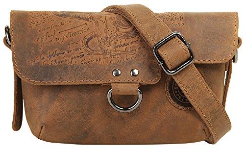 Landleder Umhängetasche braun echt Leder Umhängetasche, Handtasche