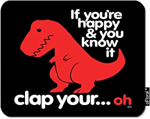 oFloral Dinosaur Gaming Mouse Pad Red Sad Dino If You are Happy You Know It Letter Decorative Mousepad Rubber Base Home Decor for Computers Laptop Office Home 7.9X9.5 Inch