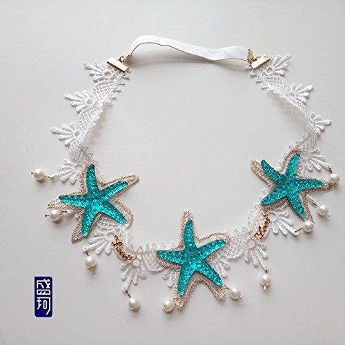 usongs Custom-made mermaid with shells and starfish seaside resort Photo lace headband essential dance performances headdress