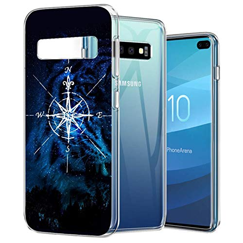 Clear Crystal Phone Case Compatible with Samsung Galaxy S10+ Finger Resistant shock Absorption Anti-slip Compass Space Protective Cover