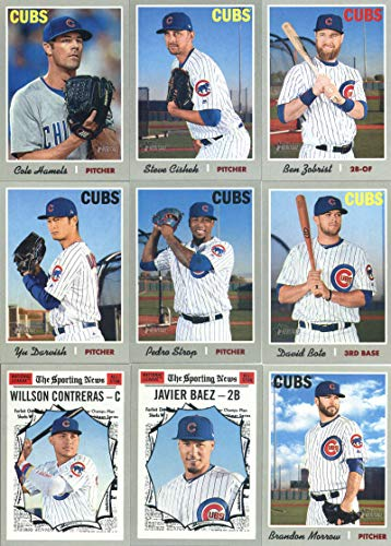 2019 Topps Heritage Baseball Chicago Cubs Team Set of 17 Cards: Kyle Hendricks(#46), Ian Happ(#80), Kyle Schwarber(#117), Duane Underwood Jr./James Norwood(#121), Albert Almora Jr.(#170), Jason Heyward(#192), Ben Zobrist(#223), Yu Darvish(#240), Cole Hamels(#258), Steve Cishek(#291), Carl Edwards Jr.(#318), Jose Quintana(#334), Pedro Strop(#346), David Bote(#347), Willson Contreras(#361), Javier Baez(#363), Brandon Morrow(#375), plus more