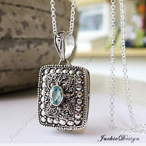 - Rectangle Blue Topaz Container Locket Sterling Silver Pendant 20