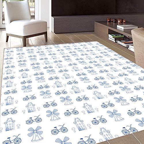 Rug,FloorMatRug,Bicycle,AreaRug,Dutch Ornament Drawings in Blue Windmill Narrow Bicycle Topiary Tree,Home mat,4'x6'White Night Blue,RubberNonSlip,Indoor/FrontDoor/KitchenandLivingRoom/Bedroom
