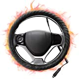 """SEG Direct Heated Steering Wheel Cover Small-Size for Prius Civic Camaro Spark Rogue Mini Smart Audi with 14""""- 14.25"""" Outer Diameter, 12V Output Voltage Quick Heating Black Velour with Coiled Cord"""