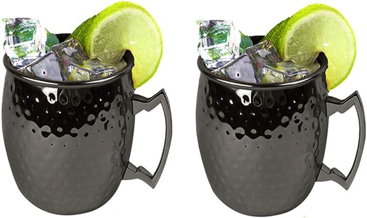 ZHANGNA Hammered Moscow Mule Cóctel Tazas Negro 2 Piezas (Black Mule Cup of 2pcs)