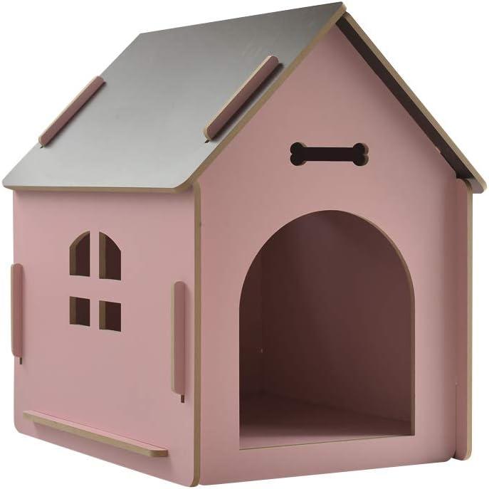 thematys Perrera de Madera para Perros I Casa para Perros para Uso Interior y Exterior I Lugar para Dormir a Las Mascotas I Resistente a la Intemperie y a los arañazos (S (40 x 39 x 45 cm), Style 5)