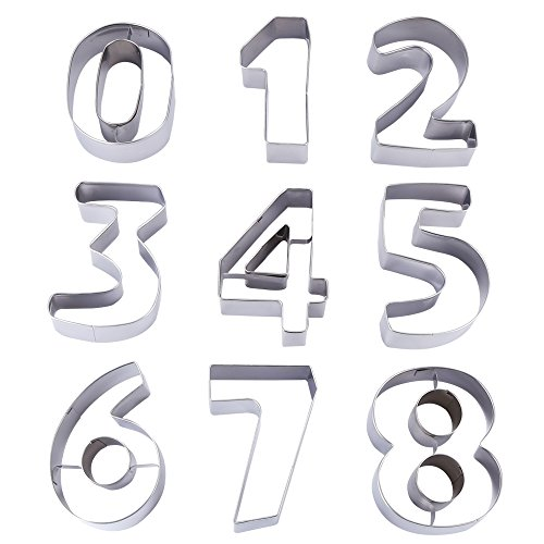Ertek Numbers Cookie Cutters 3 Inches 9pcs Jelly Fondant Cutter set, Stainless Steel, Large Number cutter (3'' Number cutter) (Metal Number Cookie Cutters)