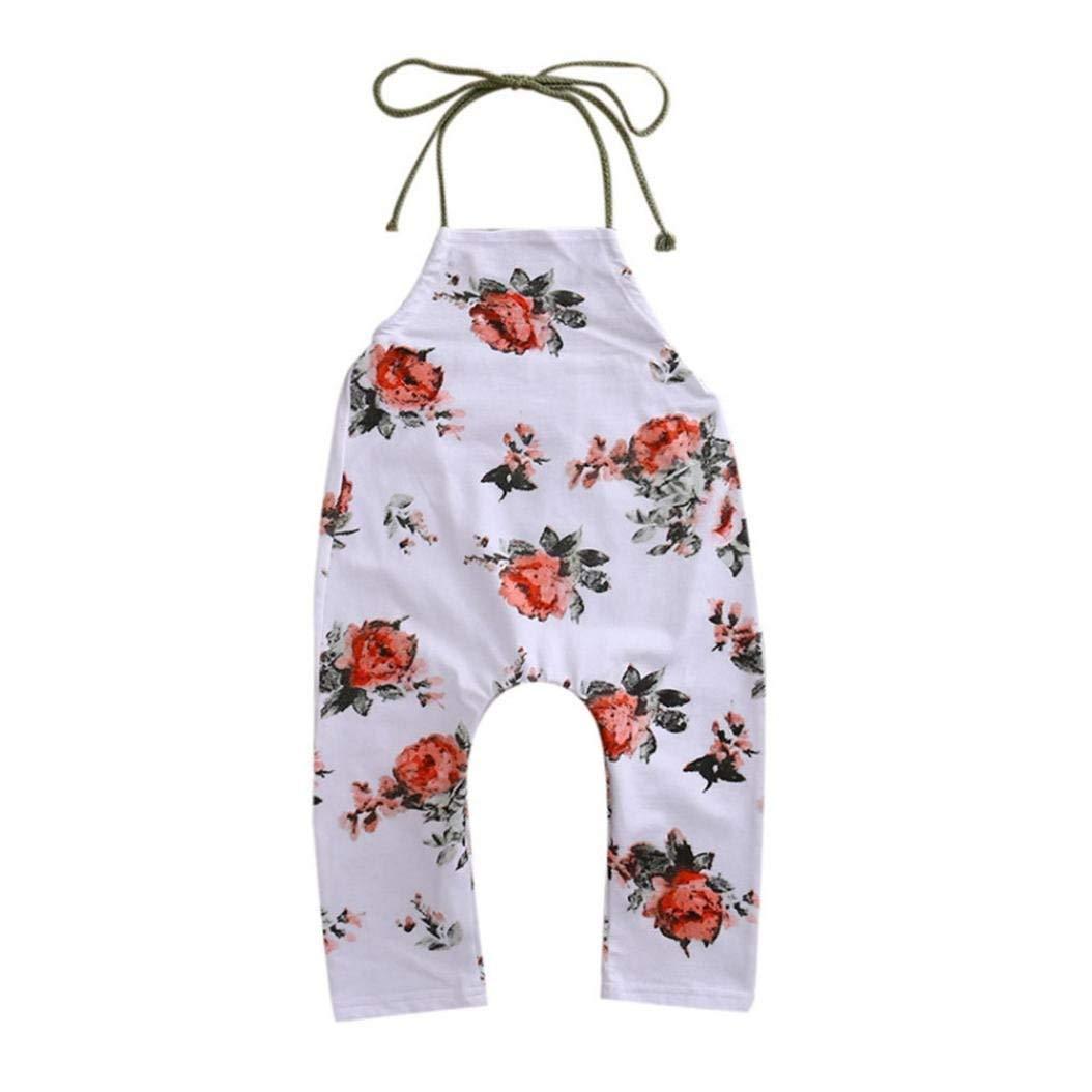 Goodtrade8 Toddler Baby Girl Halter Harem Pants Kids Sleeveless Ruffle Flower Strap Romper Jumpsuit