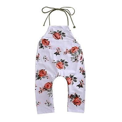 33aad971bd96 Amazon.com  Goodtrade8 Toddler Baby Girl Halter Harem Pants Kids Sleeveless  Ruffle Flower Strap Romper Jumpsuit Green  Shoes