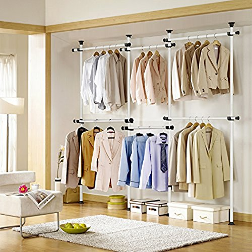 Asunflower Adjustable Clothing Racks 4 Tier Closet Organizer System Steel  Pipe Garment Rack Hanger Heavy