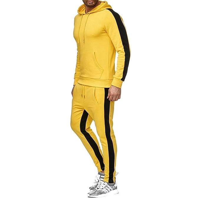 acelyn Conjunto de chándal para Hombre de Colores sólidos, Mangas Completas, Pantalones completos, Casual, con Cremallera y Capucha, M 2XL
