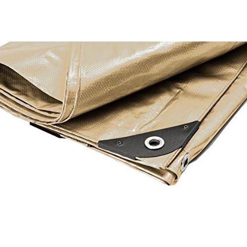 "14' x 16' Heavy Duty Premium Tan Poly Tarp (13'6"" x 15'6"") for sale"