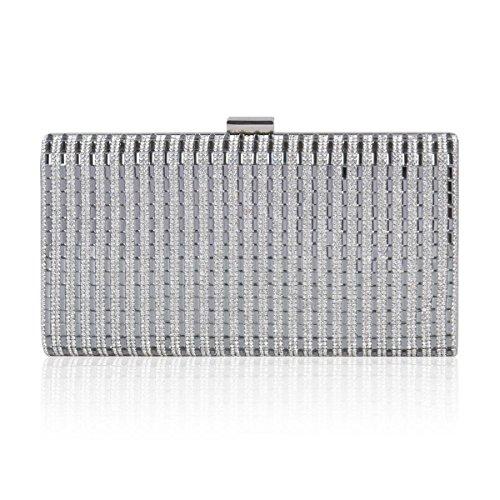 Luxurious Bag Hardware Clutch Silver Damara Rhinestone Party Womens Striped FSZq5vw