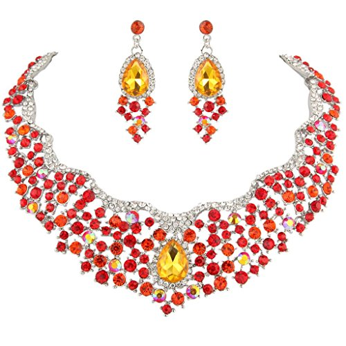 (EVER FAITH Women's Austrian Crystal Flower Cluster Teardrop Necklace Earrings Set Red Silver-Tone)