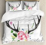 Antler Decor Queen Size Duvet Cover Set by Ambesonne, Black Deer Horns with Pink Roses Floral Wreath Design in Watercolors Wildlife, Decorative 3 Piece Bedding Set with 2 Pillow Shams, Multicolor