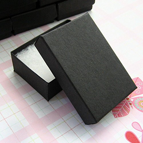 25 Pack Cotton Filled Black Matte Paper Color Jewelry Gift and Retail Boxes Jewelry Gift Collectible Packaging Boxes 2.5 x 1.5 x 1
