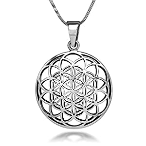 925 Sterling Silver Flower of Life Mandala 27 mm Round Circle Charm Pendant Necklace, 18 inches