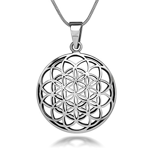 Chuvora 925 Sterling Silver Flower of Life Mandala 27 mm Round Circle Charm Pendant Necklace, 18 inches