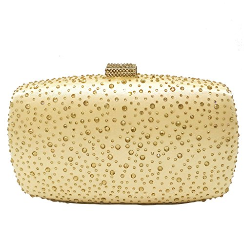 Diamond Women Evening Purse Minaudiere Clutch Bag (Gold)