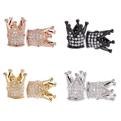 King Crown Charm, 8pcs King Crown Beads Mixed Color Brass Micro Pave Clear CZ Loose Beads for DIY